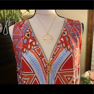MSK Maxi Dress w/ Gold Zipper & Side Slits